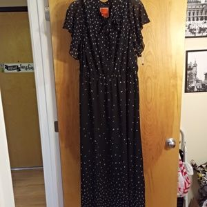 NWOT Modcloth Flowy Printed Maxi Dress 1X Black
